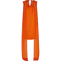 Orange cape layer shift dress