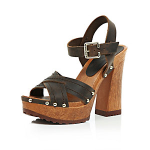 Dark brown leather wooden platform sandals