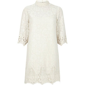 Cream lace high neck shift dress