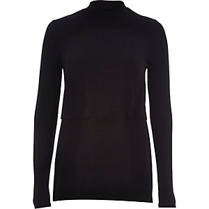 Black ribbed double layer turtle neck top
