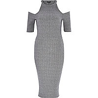 Grey ribbed cold shoulder bodycon dress