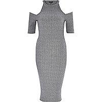 Grey ribbed cold shoulder bodycon dress