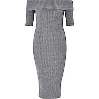 Grey ribbed bardot bodycon dress