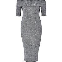 Grey ribbed bardot bodycon dress