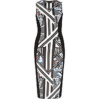 Black geo print sleeveless bodycon dress