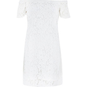 Cream lace bardot swing dress