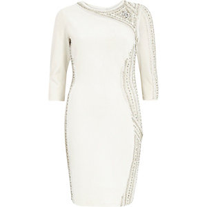 White glamorous embellished bodycon dress