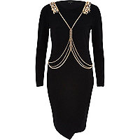 Black harness bodycon dress