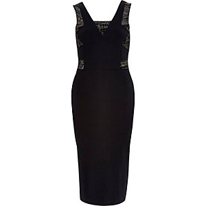 Black sparkle bodycon midi dress