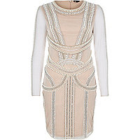 Nude pink pearl embellished bodycon dress