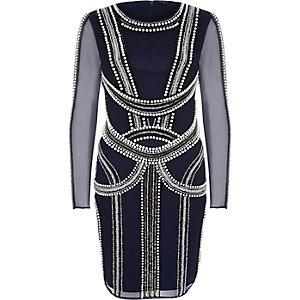 Blue glamorous embellished bodycon prom dress