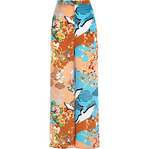 Orange Oriental floral print palazzo pants