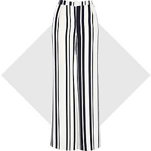 White stripe palazzo pants