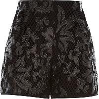 Black printed mesh high waisted shorts