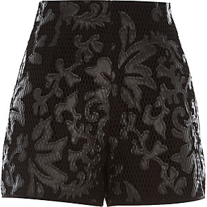 Black printed mesh high waisted shorts