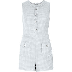 Cream metallic tweed playsuit