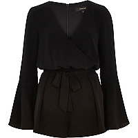 Black smart 70s bell sleeve playsuit