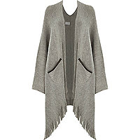 Grey oversized tassel trim cape