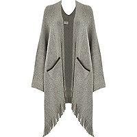 Grey oversized tassel trim cape