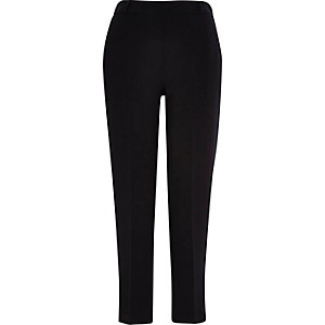 Black tapered pull on trousers