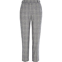 Grey check tapered pull on trousers