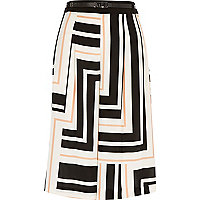 White stripe culotte shorts