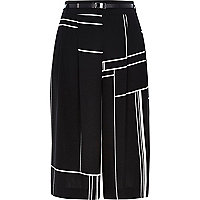 Black check smart culottes
