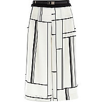White check print smart culottes