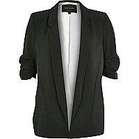 Khaki green ruched sleeve blazer