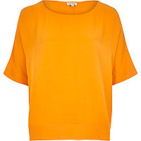 Orange lightweight chiffon hem t-shirt