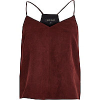 Dark red faux suede cami