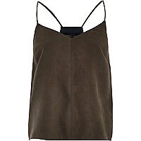 Dark grey faux suede cami