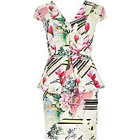 White floral print peplum bodycon dress