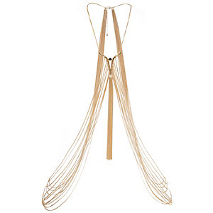 Gold tone tassel draped body harness
