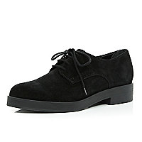 Black suede chunky lace up shoes