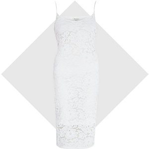 Cream lace bodycon cami dress