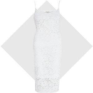 Cream lace bodycon cami dress