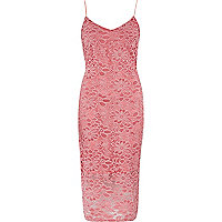 Pink lace bodycon cami dress