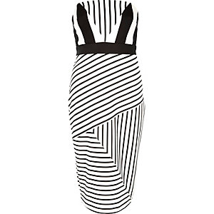 Black stripe bandeau pencil dress