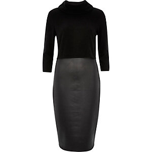 Black 2-in-1 bodycon pencil dress