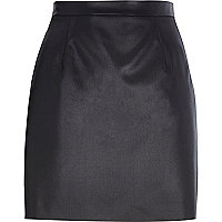 Black coated A-line mini skirt