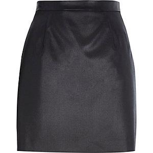 Black coated A-line skirt