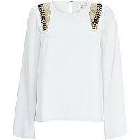 White embellished cape sleeve top