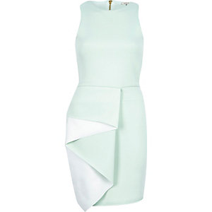 Mint green scuba ruffle bodycon dress