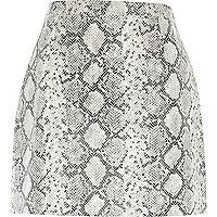 White snake print leather-look A-line skirt