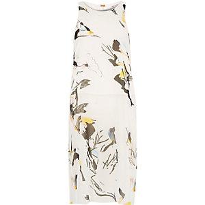 White abstract print sheer midi top