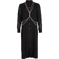 Black harness longline shirt