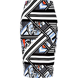 Black mixed print pull on pencil skirt