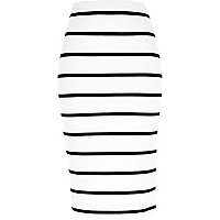 White stripe pull on pencil skirt
