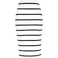 White stripe pull on pencil skirt